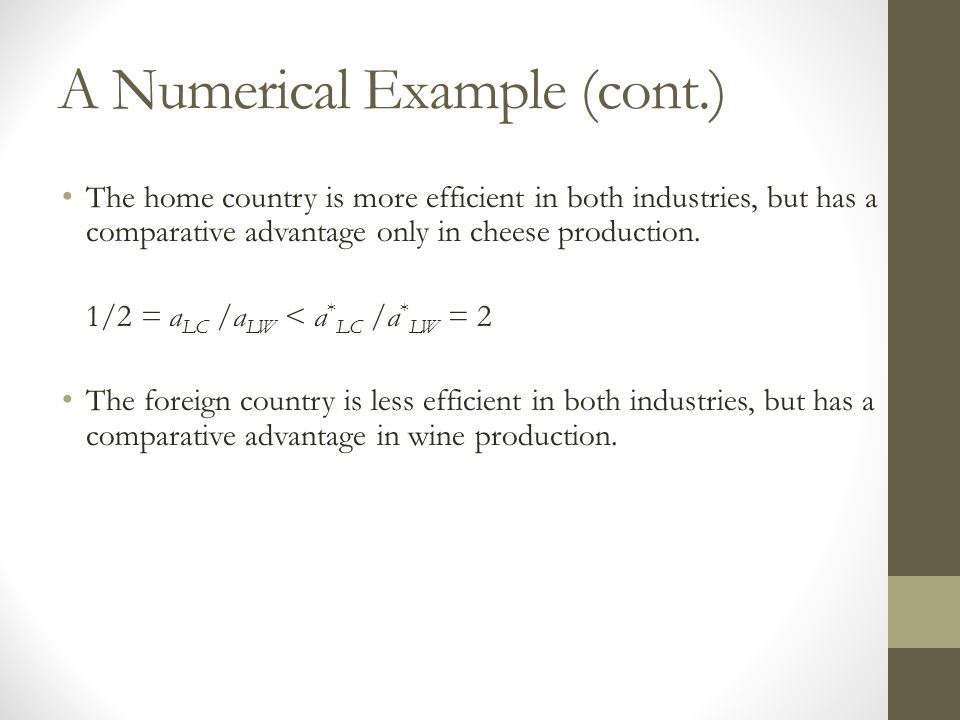 A Numerical Example (cont.) The home country is more efficient in both industries, but has a comparative advantage only in cheese production.
