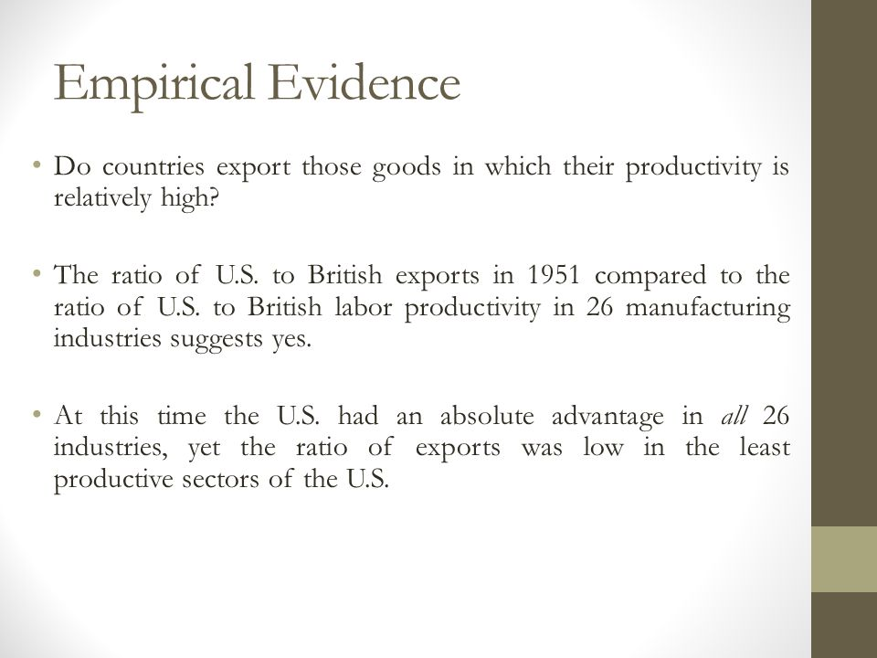 Empirical Evidence Do countries export those goods in which their productivity is relatively high? The ratio of U.S. to British exports in 1951 compar