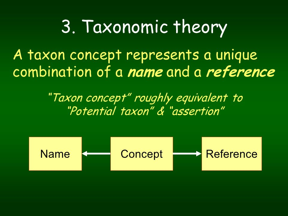 "NameReferenceConcept 3. Taxonomic theory A taxon concept represents a unique combination of a name and a reference ""Taxon concept"" roughly equivalent"