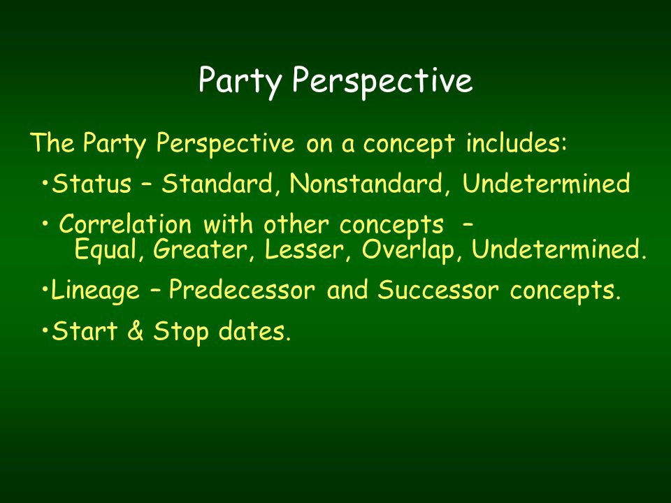 Party Perspective The Party Perspective on a concept includes: Status – Standard, Nonstandard, Undetermined Correlation with other concepts – Equal, Greater, Lesser, Overlap, Undetermined.