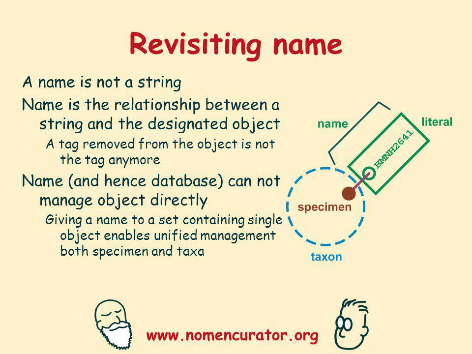 www.nomencurator.org Revisiting name A name is not a string Name is the relationship between a string and the designated object A tag removed from the object is not the tag anymore Name (and hence database) can not manage object directly Giving a name to a set containing single object enables unified management both specimen and taxa