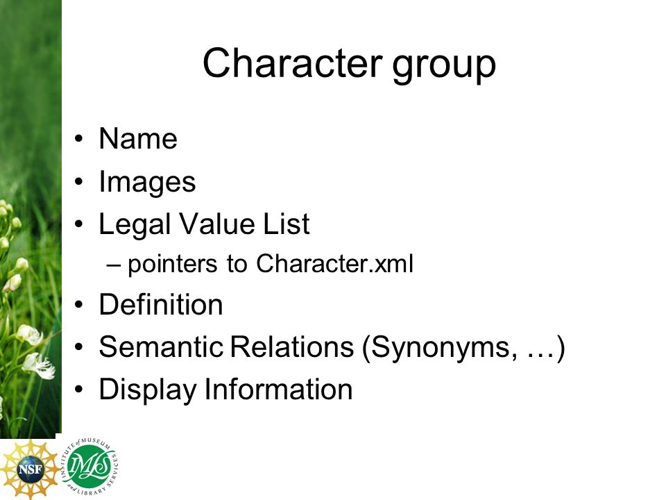 Character group Name Images Legal Value List –pointers to Character.xml Definition Semantic Relations (Synonyms, …) Display Information