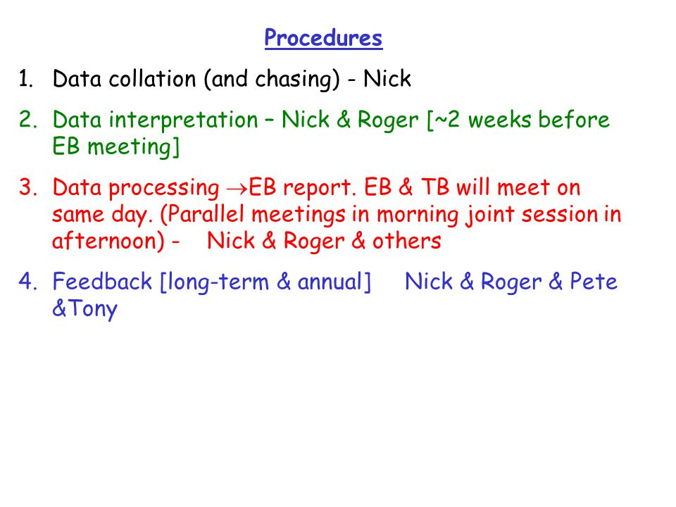 Procedures 1.Data collation (and chasing) - Nick 2.Data interpretation – Nick & Roger [~2 weeks before EB meeting] 3.Data processing  EB report.