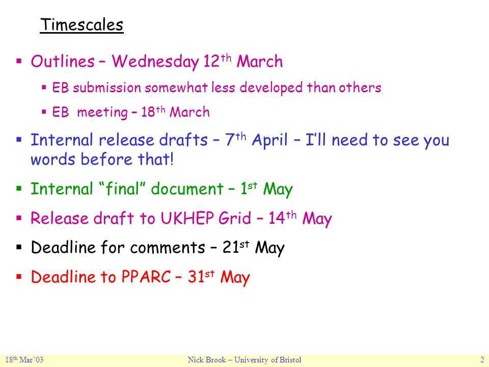 18 th Mar'03Nick Brook – University of Bristol2 Timescales  Outlines – Wednesday 12 th March  EB submission somewhat less developed than others  EB meeting – 18 th March  Internal release drafts – 7 th April – I'll need to see you words before that.