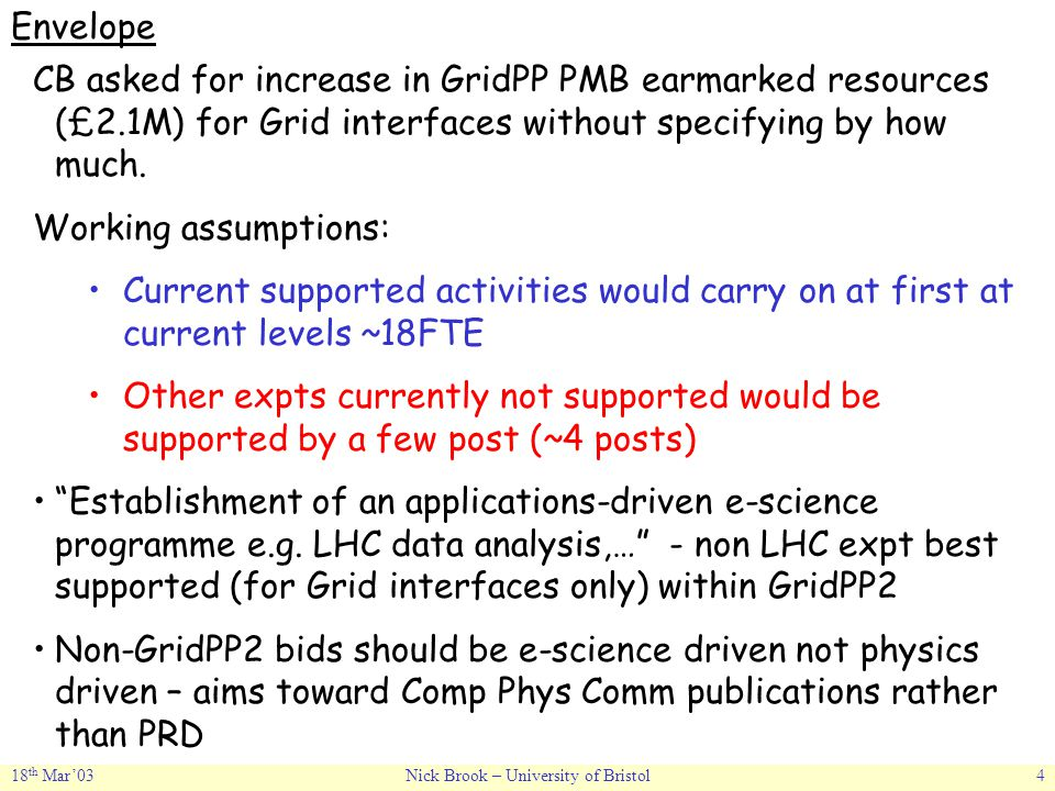 18 th Mar'03Nick Brook – University of Bristol4 Envelope CB asked for increase in GridPP PMB earmarked resources (£2.1M) for Grid interfaces without specifying by how much.
