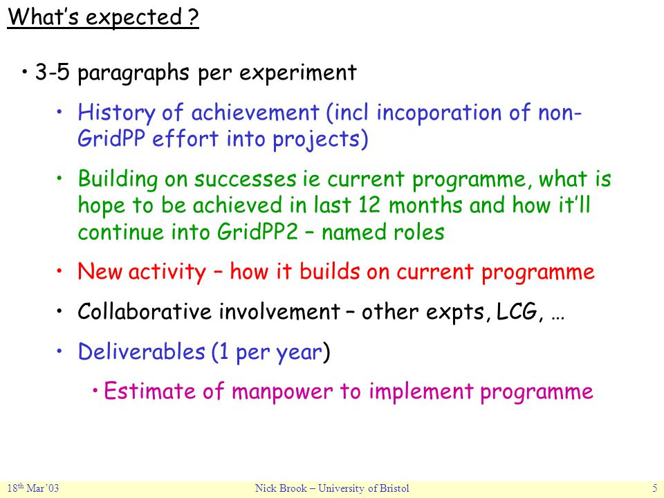 18 th Mar'03Nick Brook – University of Bristol5 What's expected ? 3-5 paragraphs per experiment History of achievement (incl incoporation of non- Grid