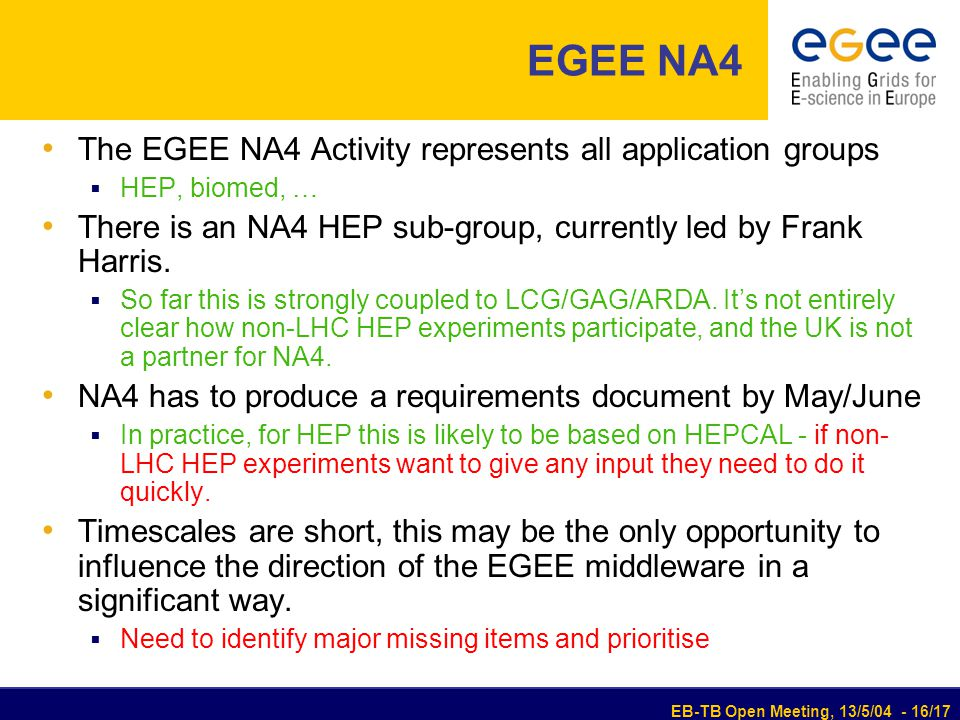 EB-TB Open Meeting, 13/5/04 - 16/17 EGEE NA4 The EGEE NA4 Activity represents all application groups  HEP, biomed, … There is an NA4 HEP sub-group, currently led by Frank Harris.