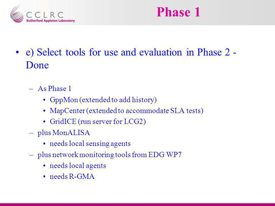 Phase 1 e) Select tools for use and evaluation in Phase 2 - Done –As Phase 1 GppMon (extended to add history) MapCenter (extended to accommodate SLA t