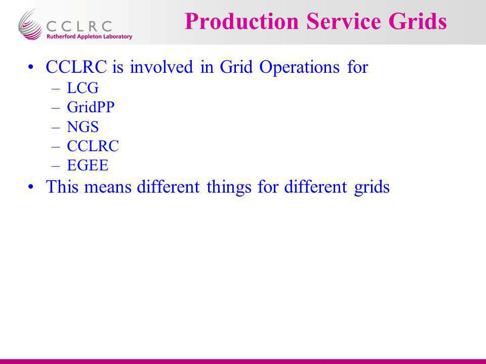 Production Service Grids CCLRC is involved in Grid Operations for –LCG –GridPP –NGS –CCLRC –EGEE This means different things for different grids
