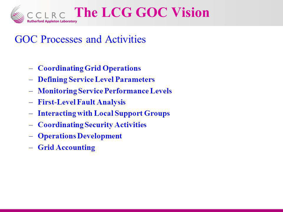 The LCG GOC Vision GOC Processes and Activities –Coordinating Grid Operations –Defining Service Level Parameters –Monitoring Service Performance Level