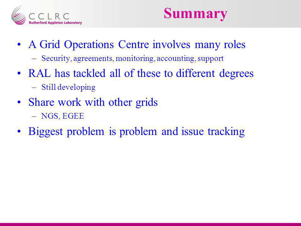Summary A Grid Operations Centre involves many roles –Security, agreements, monitoring, accounting, support RAL has tackled all of these to different