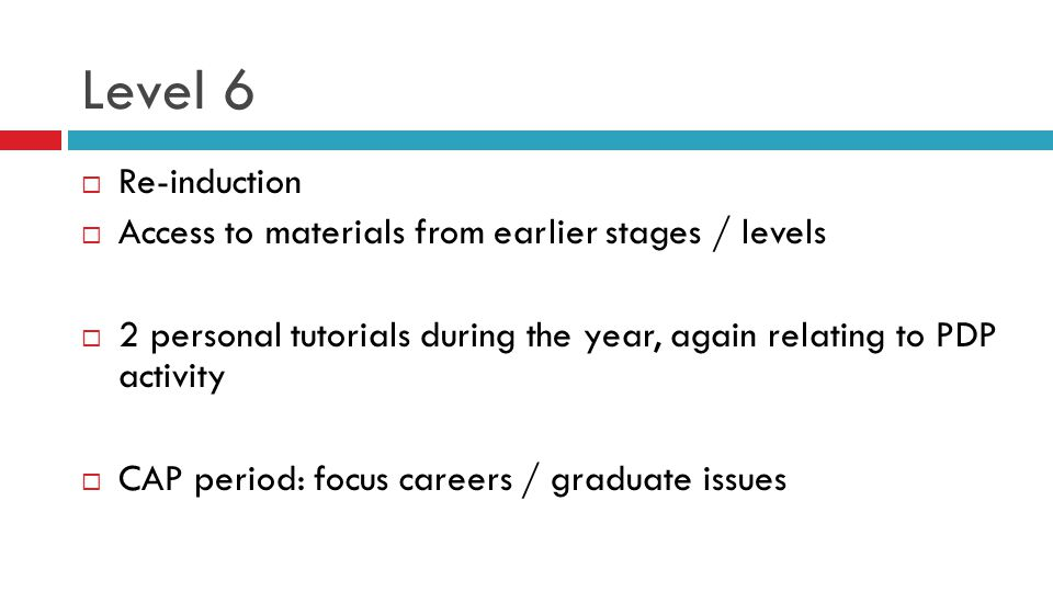 Level 6  Re-induction  Access to materials from earlier stages / levels  2 personal tutorials during the year, again relating to PDP activity  CAP period: focus careers / graduate issues