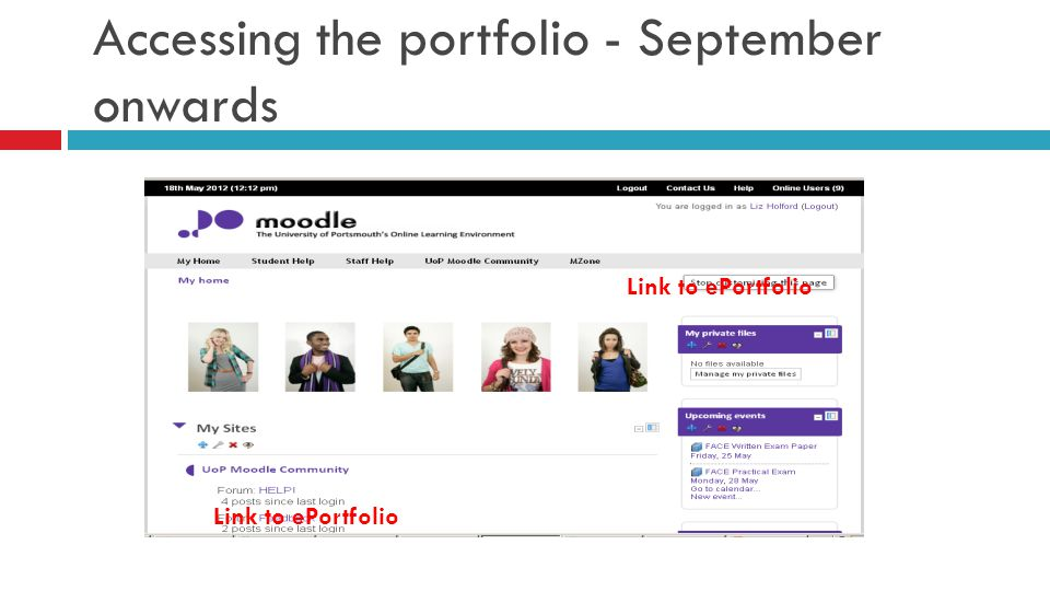 Accessing the portfolio - September onwards Link to ePortfolio
