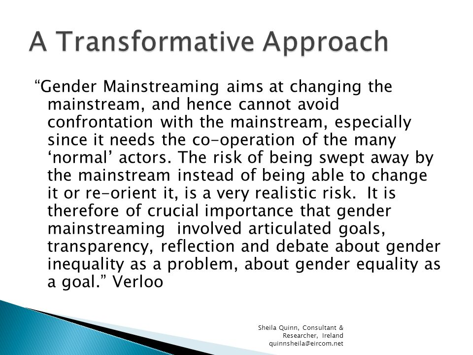 Gender Mainstreaming aims at changing the mainstream, and hence cannot avoid confrontation with the mainstream, especially since it needs the co-operation of the many 'normal' actors.
