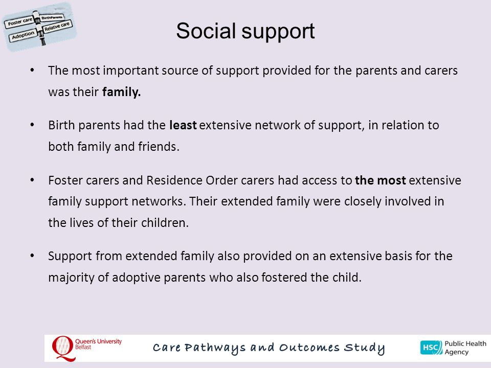 Social support The most important source of support provided for the parents and carers was their family.