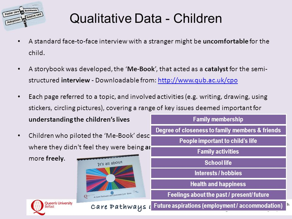 Qualitative Data – Parents/Carers Semi-structured interview with parents that covered 12 key areas: How the placement was progressing The child's attachment to them, and the bonding with child The child's behaviour Contact with birth family or previous carers Supports Involvement with social services Family activities School and child's peer relationships The child's health Communication with the child Feelings and expectations regarding child's future