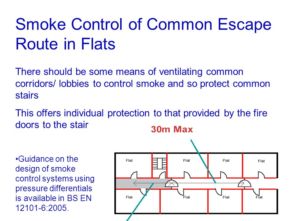 Smoke Control of Common Escape Route in Flats There should be some means of ventilating common corridors/ lobbies to control smoke and so protect comm