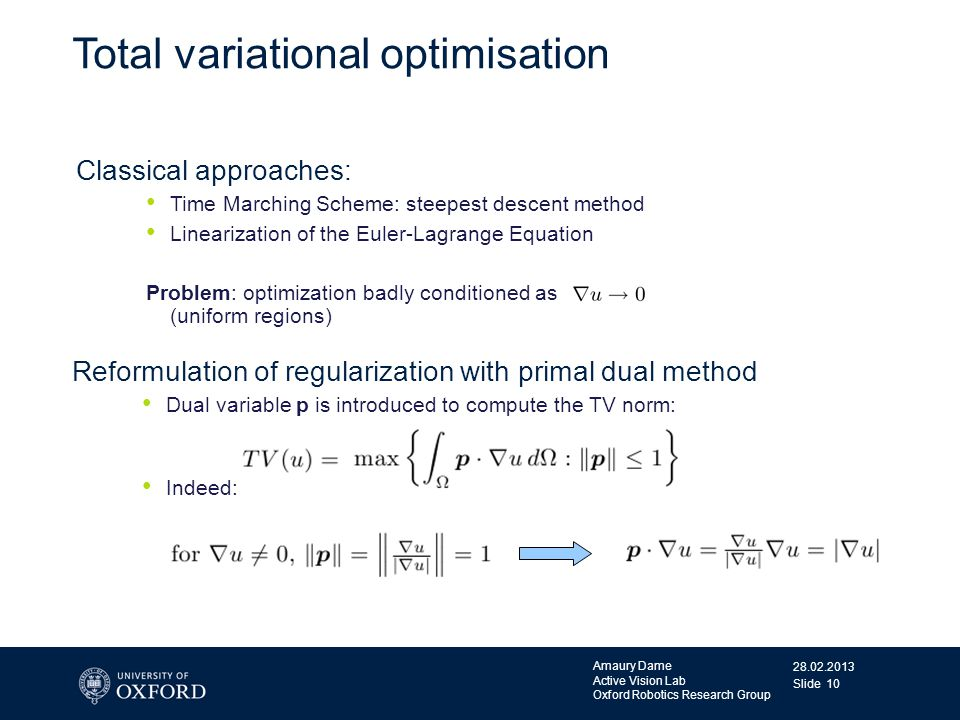 28.02.2013 Amaury Dame Active Vision Lab Oxford Robotics Research Group Slide 10 Total variational optimisation Classical approaches: Time Marching Sc