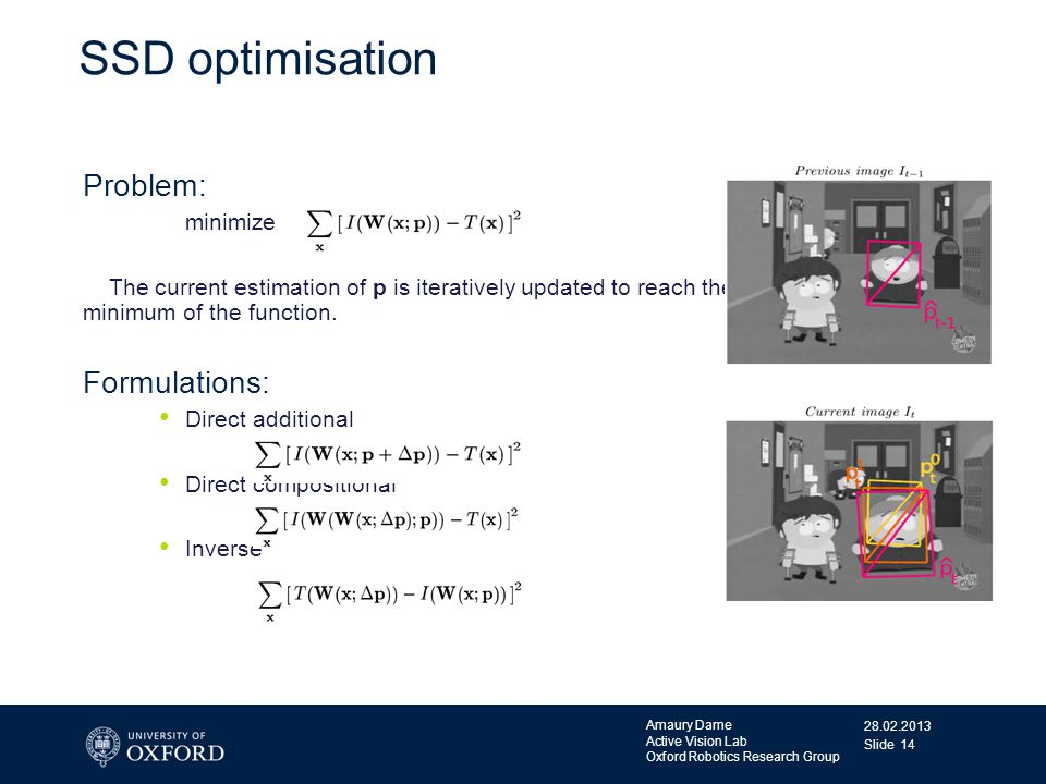28.02.2013 Amaury Dame Active Vision Lab Oxford Robotics Research Group Slide 14 SSD optimisation Problem: minimize The current estimation of p is ite