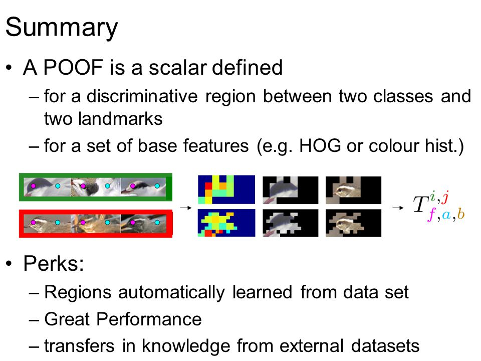 Motivation: Standard approach to part based recognition: - extract standard feature (SIFT, HOG, LBP) - train classifier - relevant regions tuned by hand Idea: standard features hardly optimal for specific problem best according to - domain (dog features != bird features) - task (face recognition != gender classification)