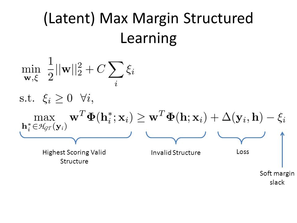 (Latent) Max Margin Structured Learning Highest Scoring Valid Structure Invalid Structure Loss Soft margin slack