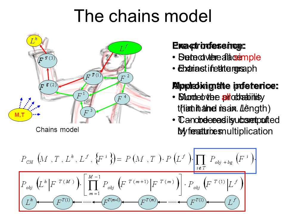 Pre-processing: Detect the face Extract features Modeling the posterior: Model the probability that hand is in L h T – ordered subset of M features Exact inference: Sum over all simple chains in the graph Approximate inference: Sum over all chains (limit the max.