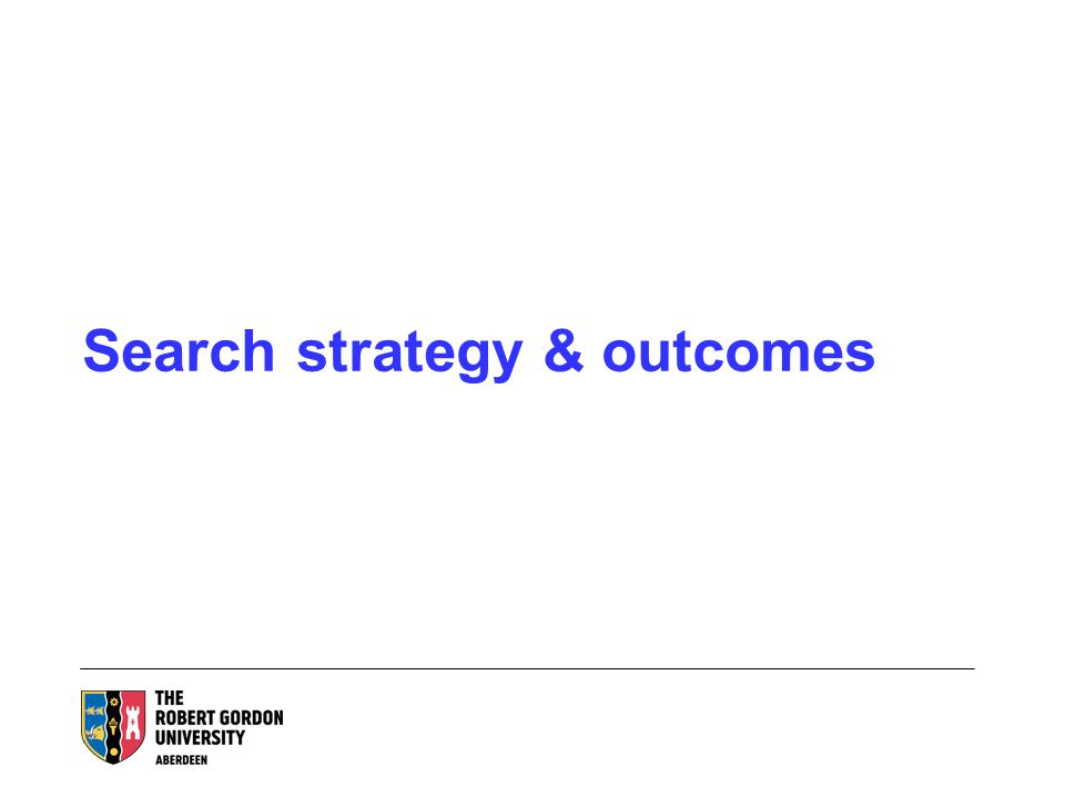 Search strategy & outcomes