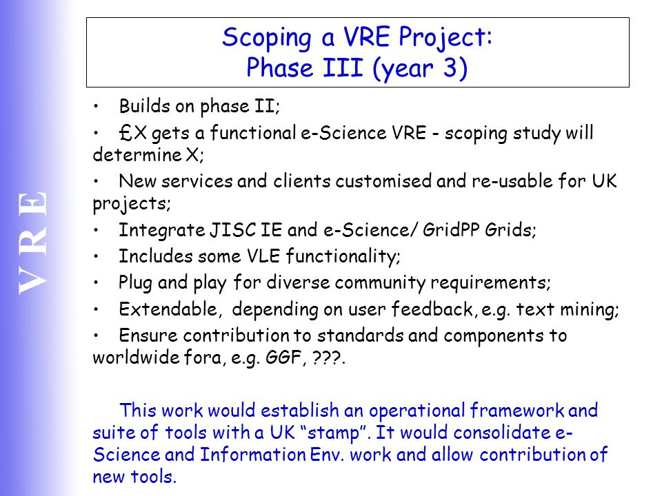 V R E Scoping a VRE Project: Phase III (year 3) Builds on phase II; £X gets a functional e-Science VRE - scoping study will determine X; New services