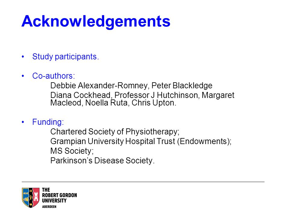 Acknowledgements Study participants.
