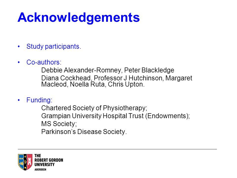Acknowledgements Study participants. Co-authors: Debbie Alexander-Romney, Peter Blackledge Diana Cockhead, Professor J Hutchinson, Margaret Macleod, N