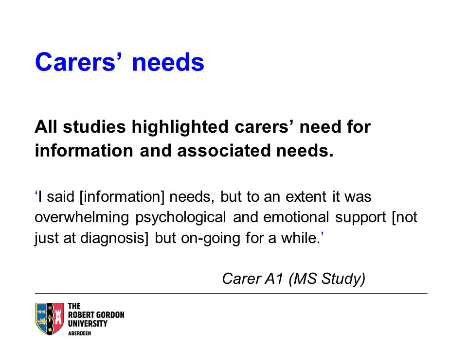 Carers' needs All studies highlighted carers' need for information and associated needs.