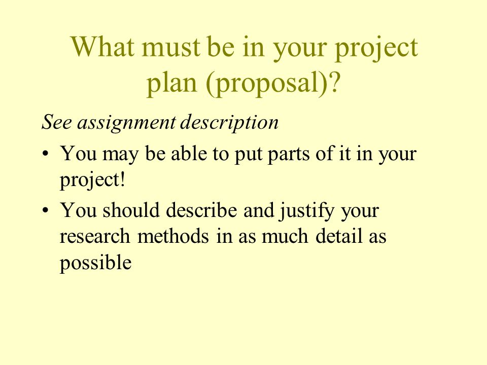 What must be in your project plan (proposal).