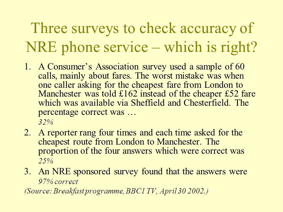 Three surveys to check accuracy of NRE phone service – which is right.
