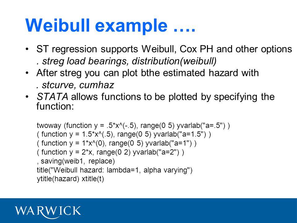 Weibull example ….