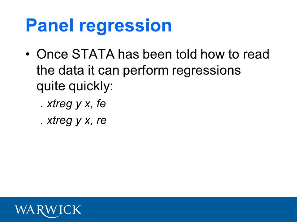 Panel regression Once STATA has been told how to read the data it can perform regressions quite quickly:.