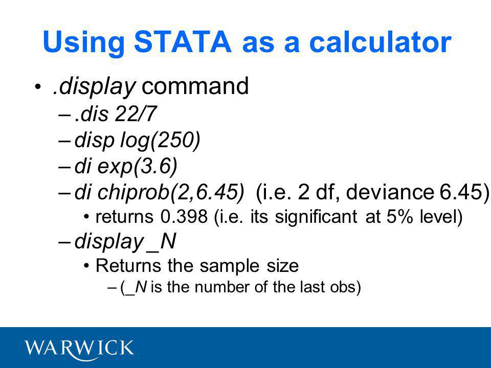 Using STATA as a calculator.