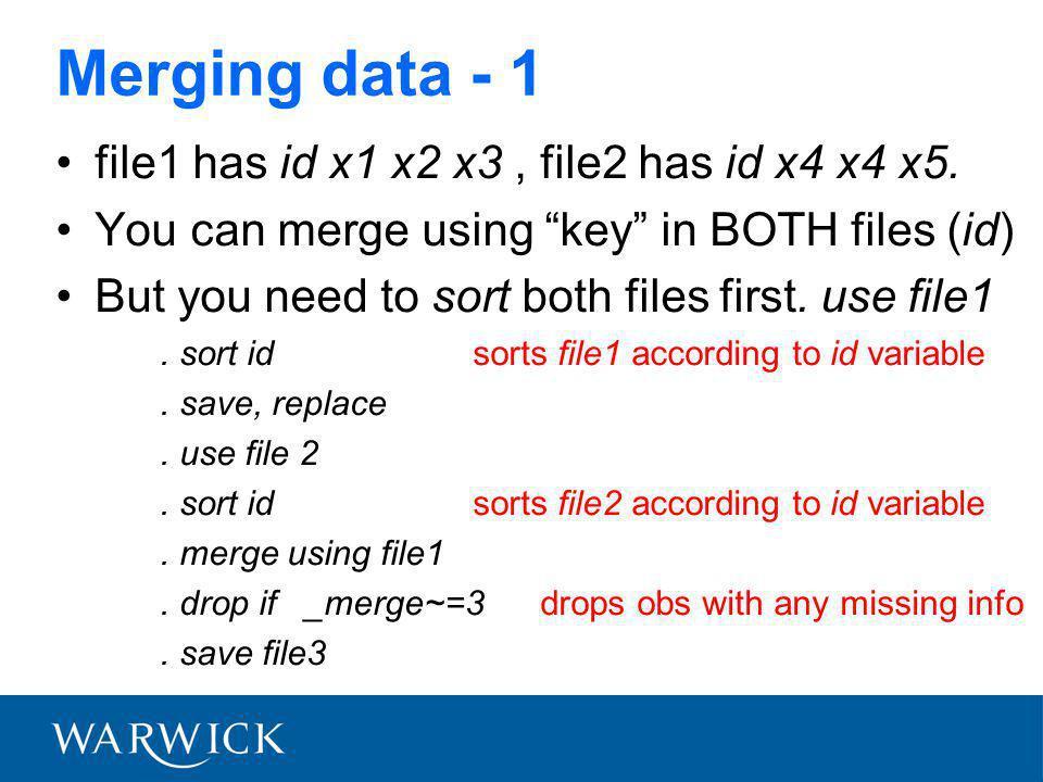 Merging data - 1 file1 has id x1 x2 x3, file2 has id x4 x4 x5.