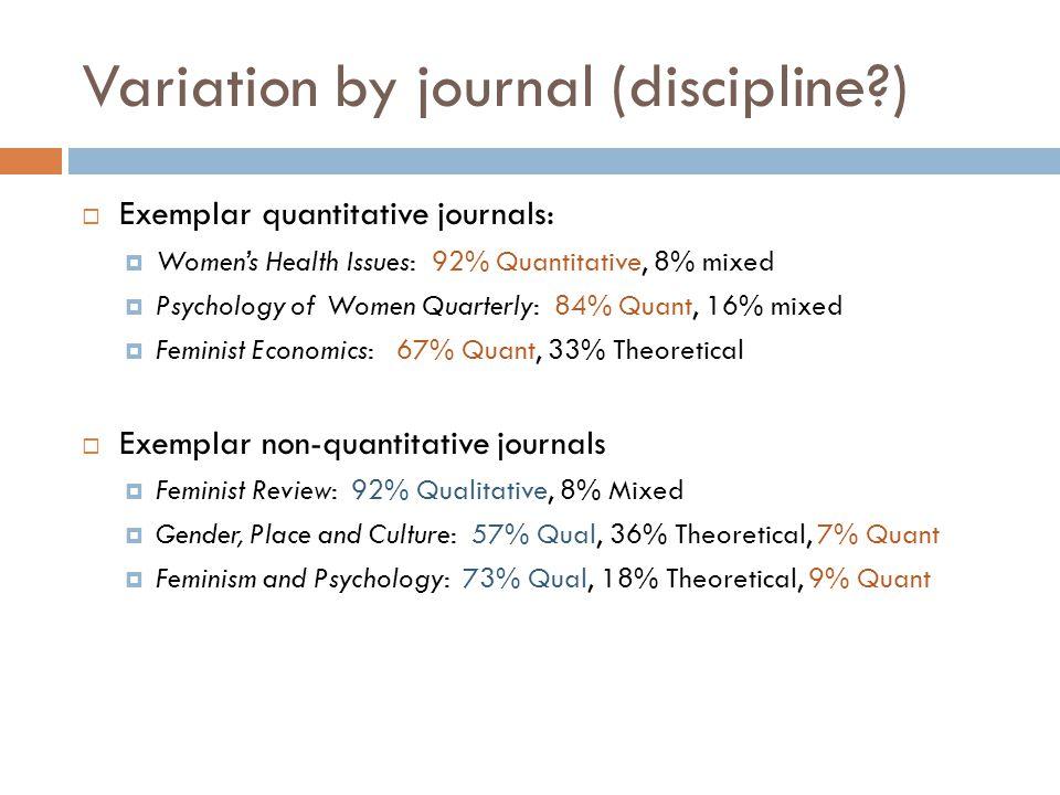 Variation by journal (discipline )  Exemplar quantitative journals:  Women's Health Issues: 92% Quantitative, 8% mixed  Psychology of Women Quarterly: 84% Quant, 16% mixed  Feminist Economics: 67% Quant, 33% Theoretical  Exemplar non-quantitative journals  Feminist Review: 92% Qualitative, 8% Mixed  Gender, Place and Culture: 57% Qual, 36% Theoretical, 7% Quant  Feminism and Psychology: 73% Qual, 18% Theoretical, 9% Quant