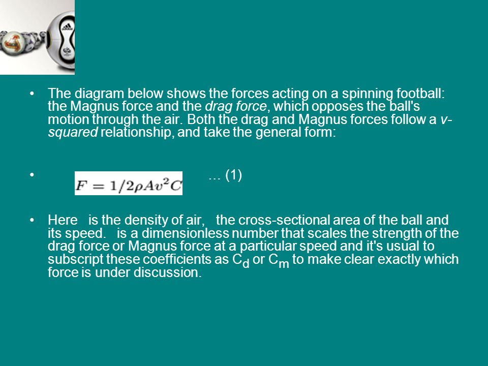 The diagram below shows the forces acting on a spinning football: the Magnus force and the drag force, which opposes the ball's motion through the air