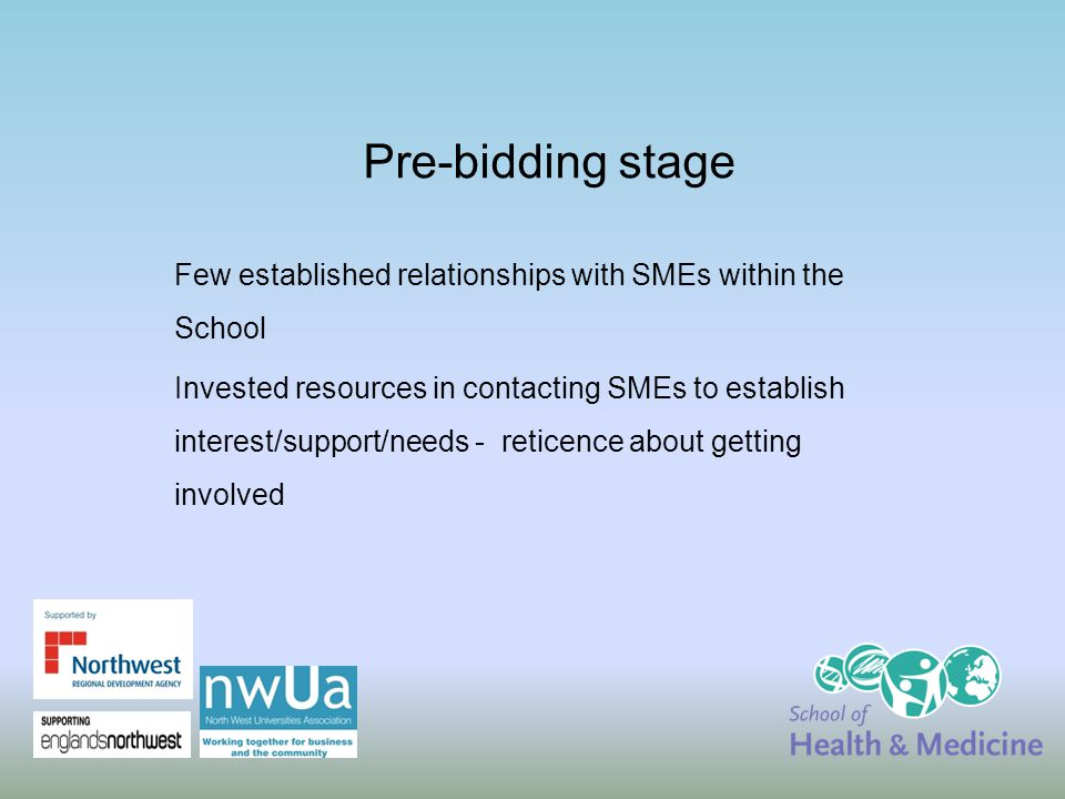 Pre-bidding stage Few established relationships with SMEs within the School Invested resources in contacting SMEs to establish interest/support/needs