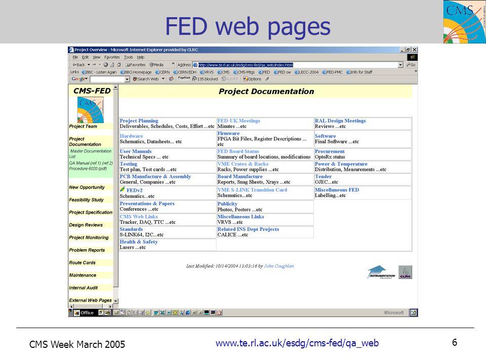 CMS Week March 2005 www.te.rl.ac.uk/esdg/cms-fed/qa_web 6 FED web pages