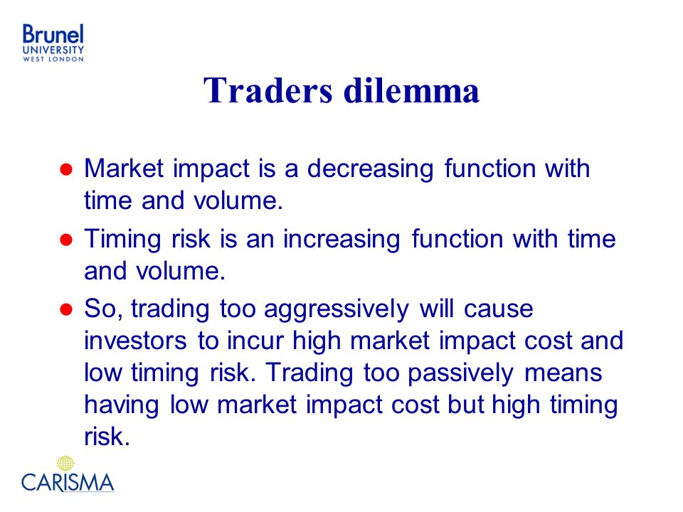 Traders dilemma Market impact is a decreasing function with time and volume.