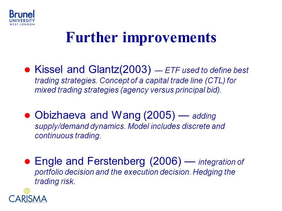 Further improvements Kissel and Glantz(2003) — ETF used to define best trading strategies.