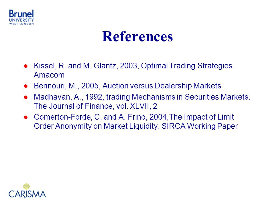 References Kissel, R. and M. Glantz, 2003, Optimal Trading Strategies.
