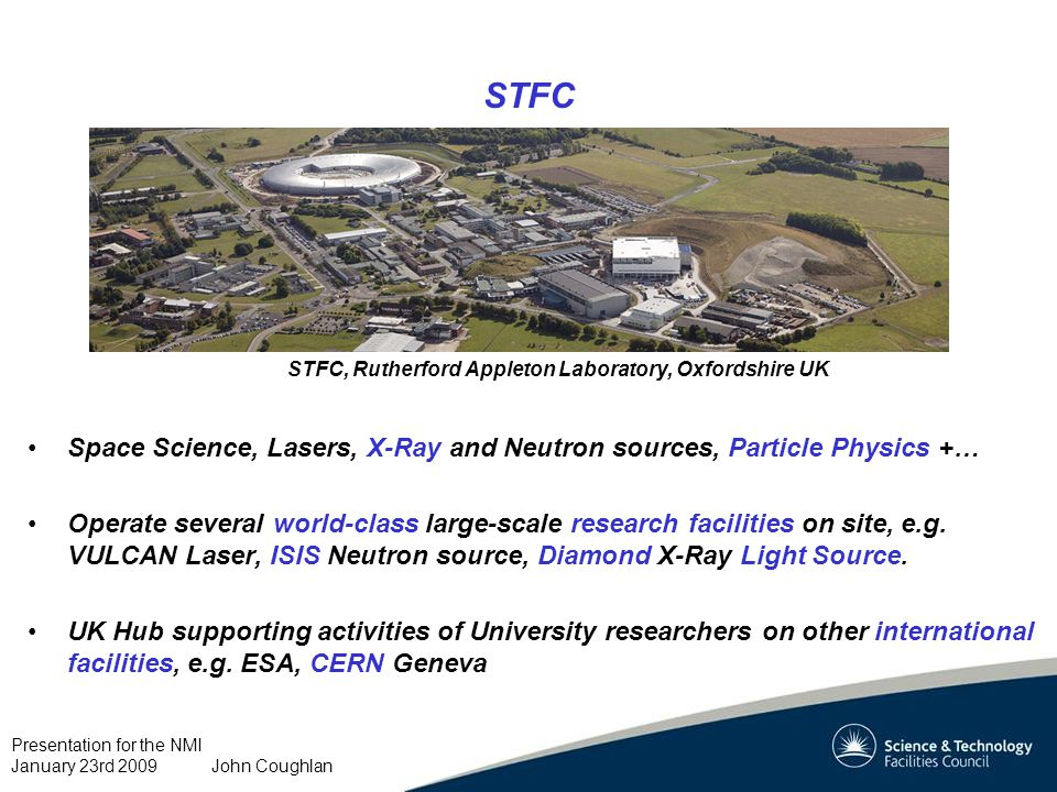 Presentation for the NMI January 23rd 2009 John Coughlan Major Site Developments Harwell Science and Innovation Campus… New Detector Systems centre 2010/11 Agreement for new ESA research centre STFC, Rutherford Appleton Laboratory, Oxfordshire UK