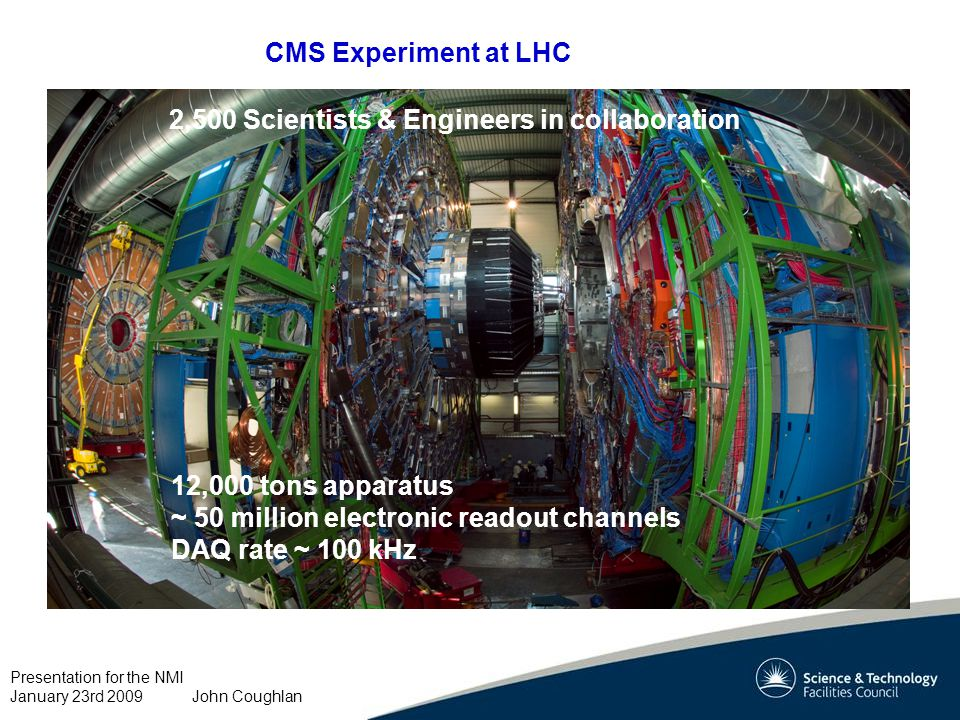 Presentation for the NMI January 23rd 2009 John Coughlan CMS Experiment at LHC 12,000 tons apparatus ~ 50 million electronic readout channels DAQ rate ~ 100 kHz 2,500 Scientists & Engineers in collaboration