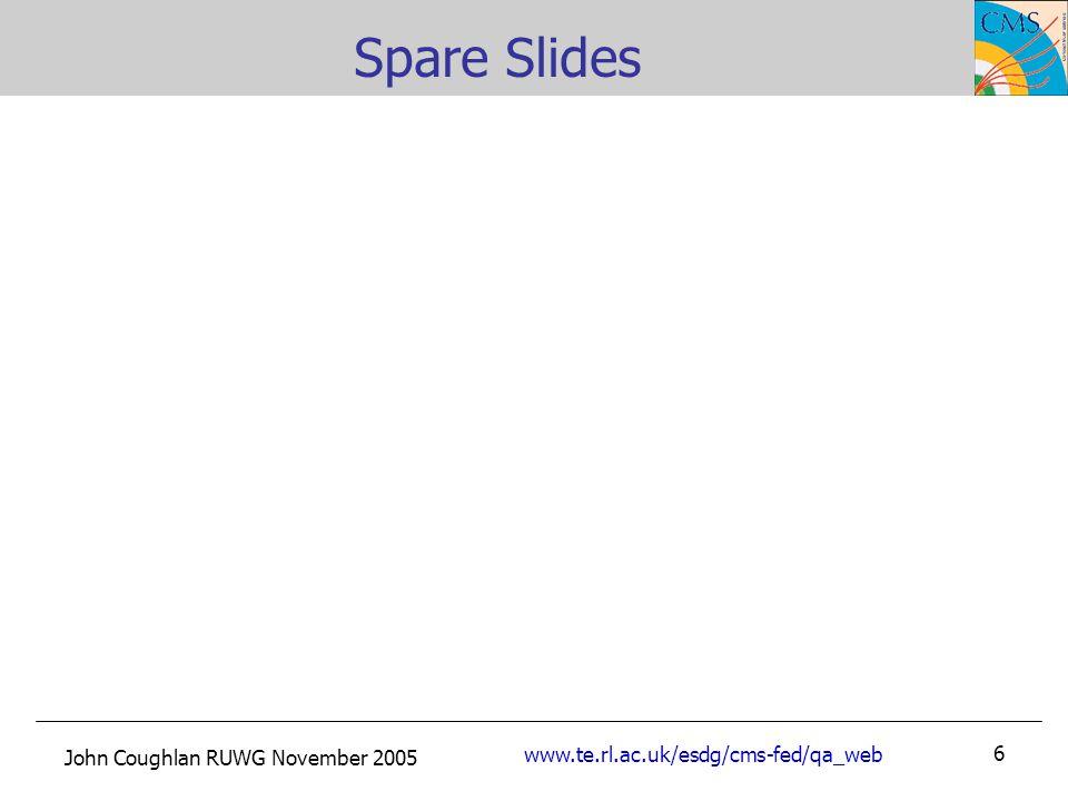 John Coughlan RUWG November 2005 www.te.rl.ac.uk/esdg/cms-fed/qa_web 6 Spare Slides