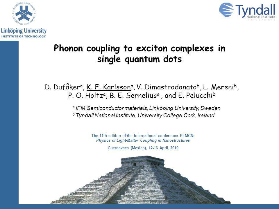 Experimental results QD1 Replica of X + significantly weaker than X and X - Replica of X - similar strength as replica of X LO-phonon energy 36.4  0.1 meV Larger spectral linewidth of replicas