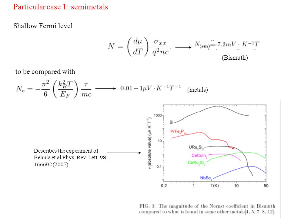 Particular case 1: semimetals Shallow Fermi level (Bismuth) to be compared with (metals) Describes the experiment of Behnia et al Phys.
