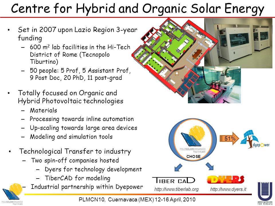 PLMCN10, Cuernavaca (MEX) 12-16 April, 2010 Centre for Hybrid and Organic Solar Energy Set in 2007 upon Lazio Region 3-year funding – 600 m 2 lab facilities in the Hi-Tech District of Rome (Tecnopolo Tiburtino) – 50 people: 5 Prof, 5 Assistant Prof, 9 Post Doc, 20 PhD, 11 post-grad Totally focused on Organic and Hybrid Photovoltaic technologies – Materials – Processing towards inline automation – Up-scaling towards large area devices – Modeling and simulation tools Technological Transfer to industry – Two spin-off companies hosted – Dyers for technology development – TiberCAD for modeling – Industrial partnership within Dyepower 51% CHOSE http://www.tiberlab.org http://www.dyers.it